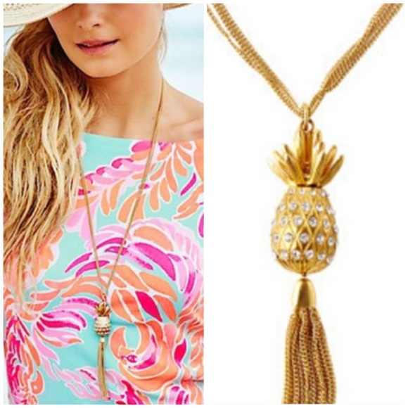 Lilly Pulitzer Flamenco Pineapple Tassel Necklace